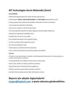 IEP TECHNOLOGIES - Kariyer Planlama Koordinatörlüğü