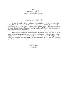 ısparta merkez çünür mahallesi 5379 nolu parselde plan değişikliği