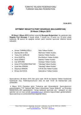 29 Nisan 3 Mayıs 2015 - Türk Yelken Federasyonu
