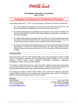 Delegation of Authority in CCI Board of Directors