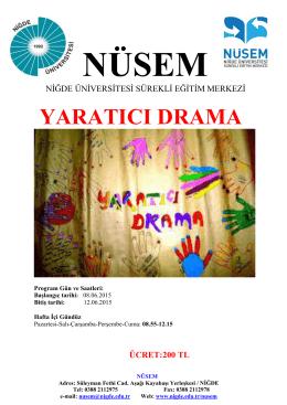 yaratıcı drama - Niğde Üniversitesi