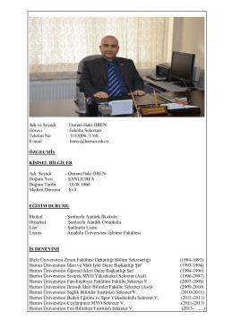 Osman Haki ÖREN - FEN BİLİMLERİ ENStitüsü