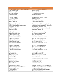 LYRICS Original Lyrics (in Croatian language)