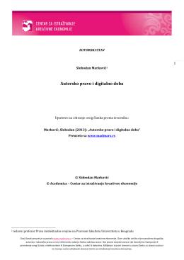 Autorsko pravo i digitalno doba - Centar za istraživanje kreativne