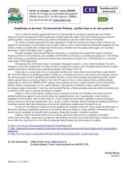 Termocentrala Šoštanj - greška koja se ne sme ponoviti