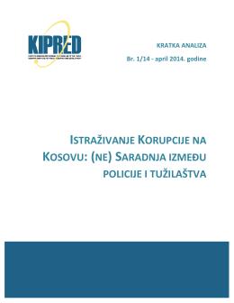 istraživanje korupcije na kosovu: (ne) saradnja između