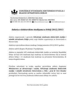 Rezultati ankete o kvalitetu doktorskih studija u Srbiji 2012/13