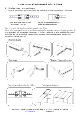 Uputstvo za montažu polikarbonatnih ploča – 3 SISTEMA