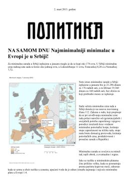 NA SAMOM DNU Najminimalniji minimalac u Evropi je u Srbiji!