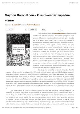 Sajmon Baron Koen – O surovosti iz zapadne vizure | Knjige koje