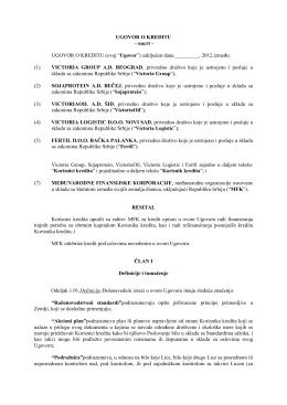 Nacrt Ugovora o kreditu IFC za objavu