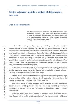 Prostor, urbanizam, politika u postsocijalističkom gradu