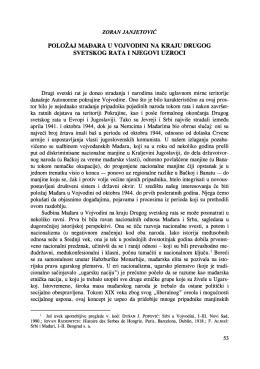 položaj mađara u vojvodini na kraju drugog svetskog rata i njegovi