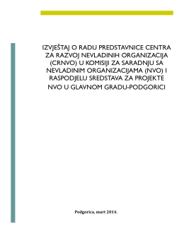 Izvjestaj o radu.pdf - CRNVO Centar za razvoj nevladinih organizacija