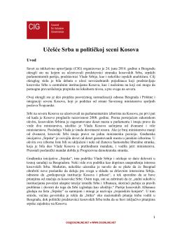 Učešće Srba u političkoj sceni Kosova