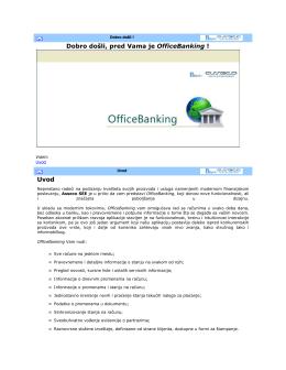 Uputstvo za korišćenje OfficeBanking aplikacije