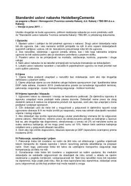 Standardni uslovi nabavke HeidelbergCementa