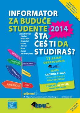 ŠTA ĆEŠ TI DA STUDIRAŠ?