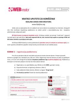 Uputstvo za korišćenje BD WEB Kreatora