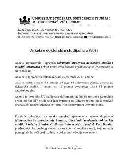 Anketa o doktorskim studijama u Srbiji