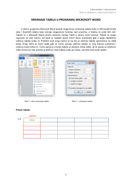 Rad sa tabelama u Microsoft Word-u