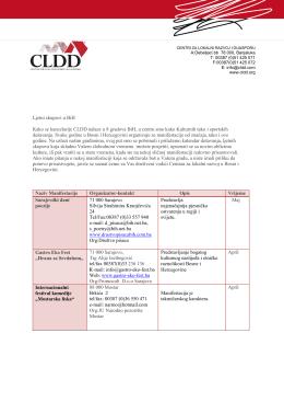 Ljetni skupovi u BiH Kako se kancelarije CLDD nalaze u 8 gradova
