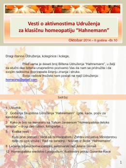 Oktobar - Udruženje Homeopata Hahnemann