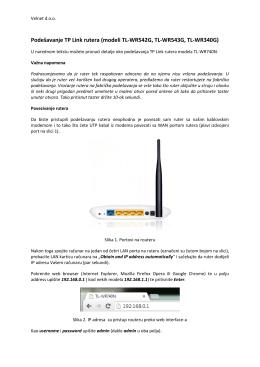 Podešavanje TP Link rutera (modeli TL-WR542G, TL