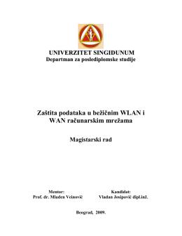 Zaštita podataka u bežičnim WLAN i WAN računarskim