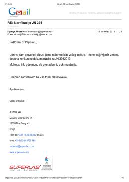 Poštovani dr Pilipoviću, Upravo sam proverio I site za javne nabavke