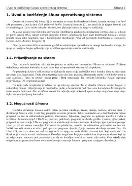 1. Uvod u korišćenje Linux operativnog sistema