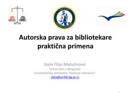 """Kurs """"Autorska prava za bibliotekare: praktična primena"""""""