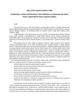 Djeca žrtve trgovine ljudima u BiH Istraživanje o