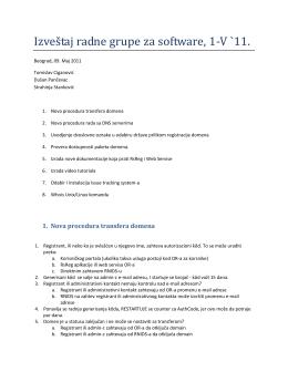 Izveštaj radne grupe za software, 1-V `11. - RNIDS-a