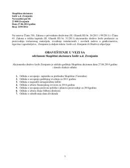 Izveštaj sa redovne skipštine akcionara od 27.06.2014