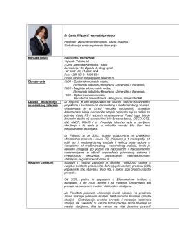 dr Sanja Filipovic, vanredni profesor, Fakultet poslovne ekonomije