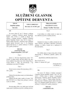 """""""Službeni glasnik opštine Derventa"""" broj: 8/13"""