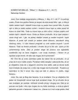 """KOMENTAR BIBLIJE - """"Mikec"""" (1. Mojsijeva 41,1"""