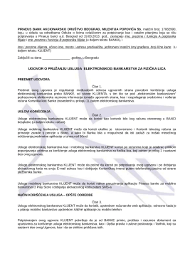 Ugovor za korišćenje usluge elektronskog