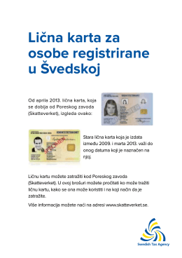 Lična karta za osobe registrirane u Švedskoj