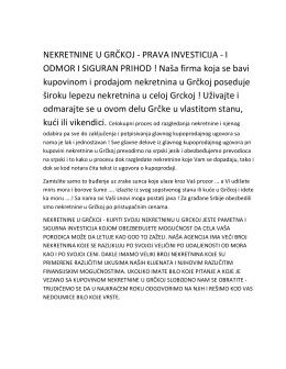 NEKRETNINE U GRČKOJ - PRAVA INVESTICIJA