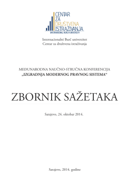 ZBORNIK SAŽETAKA - International Burch University