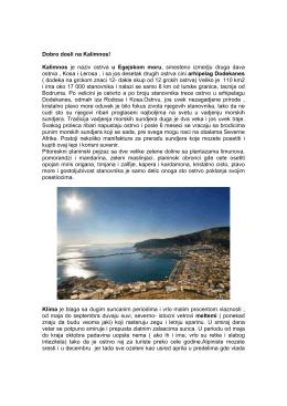 Dobro dosli na Kalimnos! Kalimnos je naziv ostrva u Egejskom moru