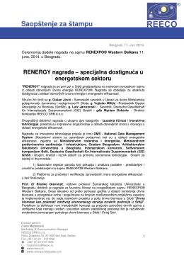 Saopštenje za štampu - RENEXPO Western Balkans
