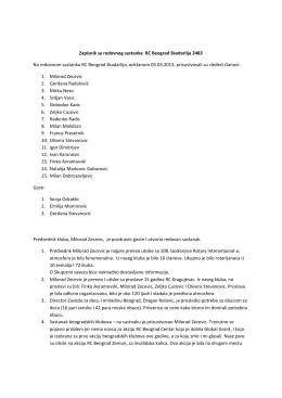 Zapisnik sa redovnog sastanka RC Beograd Skadarlija 2483 Na