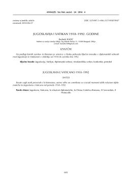 JUGOSLAVIJA I VATIKAN 1918–1992. GODINE