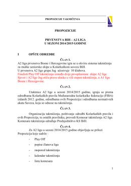 Propozicije takmičenja A2 lige za sezonu 2014/15