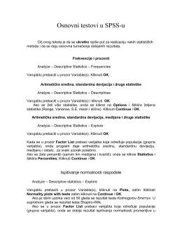 Uputstvo: Osnovni testovi u SPSS-u