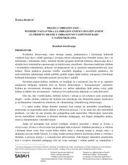 Živkica Đorđević1 DRAMA U OBRAZOVANJU