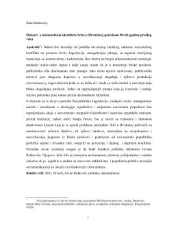 1 Saša Marković, Diskurs o nacionalnom identitetu Srba u Hrvatskoj